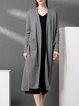 Long Sleeve Casual Pockets Plain Cardigan