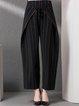 Black Pockets Stripes Statement Wide Leg Pants