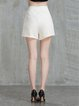 White Casual Cotton Solid Shorts