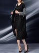 Color-block Buttoned Wool Simple Embroidered Coat