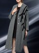 Appliqued Long Sleeve V Neck Plain Asymmetric Coat