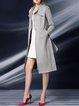Long Sleeve A-line Embroidered Buttoned Pockets Coat With Belt