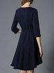 Elegant Floral-embroidered Asymmetrical 3/4 Sleeve Wrap Dress