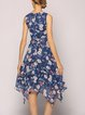 Blue Floral-print Sleeveless Midi Dress