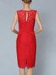Sheath Floral Sleeveless Paneled Midi Dress