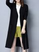 Long Sleeve Solid Slit Casual Cardigan