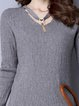 Solid Sheath Elegant Long Sleeve Sweater Dress