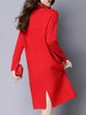 Long Sleeve Casual Stand Collar Solid H-line Sweater Dress