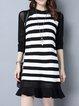 Black-white Elegant Paneled Stripes Sweater Dress