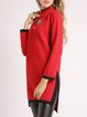 Red Long Sleeve Appliqued Stand Collar Sweater Dress