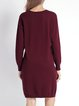 Burgundy Cocoon Crew Neck Letter Long Sleeve Sweater Dress