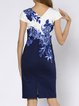 Blue Elegant Sheath Slit Crew Neck Floral-print Midi Dress