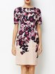 Pink Short Sleeve Floral-print Crew Neck Sheath Midi Dress
