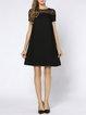 Black Pierced Shift Short Sleeve Midi Dress