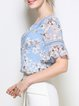 Multicolor Crew Neck Bell Sleeve Polyester Paneled Blouse