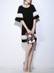 Black Paneled Bell Sleeve Midi Dress