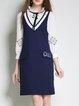 Dark Blue Casual V Neck Embroidered Midi Dress