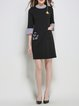 Black Polyester H-line Paneled Casual Mini Dress