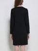 Black Long Sleeve Spandex Letter H-line Mini Dress