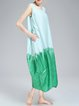 Casual A-line Sleeveless Color Block Pockets Midi Dress