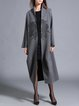 Gray Long Sleeve Embroidered Lapel Shift Coat