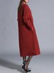 Red Pockets Embossed Shift Elegant Maxi Dress