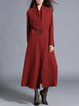 Red Plain A-line Long Sleeve V Neck Coat