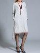 Light Gray Scoop Neckline Fringed High Low Long Sleeve Midi Dress