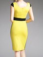 Sweetheart Yellow Midi Dress Sheath Elegant Paneled Dress