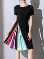 Statement Pleated Color-block Beaded A-line Midi Dress