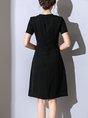 A-line Daily Elegant Short Sleeve Color-block  Midi Dress