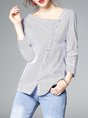 White 3/4 Sleeve Striped Buttoned Printed H-line V Neck Blouse