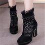 Lace Black Beading Suede Platform Winter Boots
