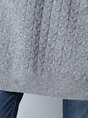 Casual Long Sleeve Plain Knitted Sweater
