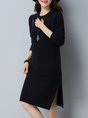 Midi Dress Shift Daytime Casual Solid Dress