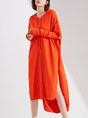 Hoodie High Low Knitted Asymmetric Statement Midi Dress