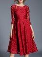 Lace Guipure Lace 3/4 Sleeve Casual Midi Dress