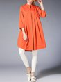 Casual 3/4 Sleeve Stand Collar Solid Tunic