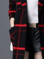 Checkered/Plaid Casual Long Sleeve Cardigan
