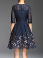Blue A-line Daytime Elegant Half Sleeve Guipure lace Floral Midi Dress