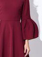 Square neck  A-line Bell Sleeve Vintage   Midi Dress