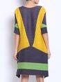Multicolor Half Sleeve H-line Draped Jersey Woven Knee Length Dress