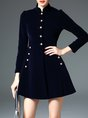 Dark Blue Simple Buttoned A-line Coat