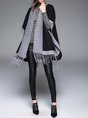 Black Fringed Knitted Plain Batwing Open Front Casual Cardigan