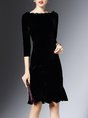 Bateau/boat neck  Flounce Cocktail 3/4 Sleeve Velvet Ruffled Solid Midi Dress