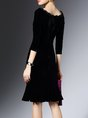 Flounce Cocktail 3/4 Sleeve Velvet Ruffled Sheath Statement Midi Dress