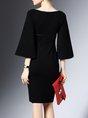 Zipper Sheath Frill Sleeve Elegant Midi Dress