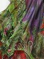 Green Blouson Daytime Sleeveless Asymmetric Floral Midi Dress
