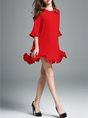 Red Flounce Daytime Casual Frill Sleeve Ruffled Solid Mini Dress