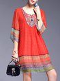 Red A-line Daily Boho 3/4 Sleeve Embroidered Tribal Midi Dress